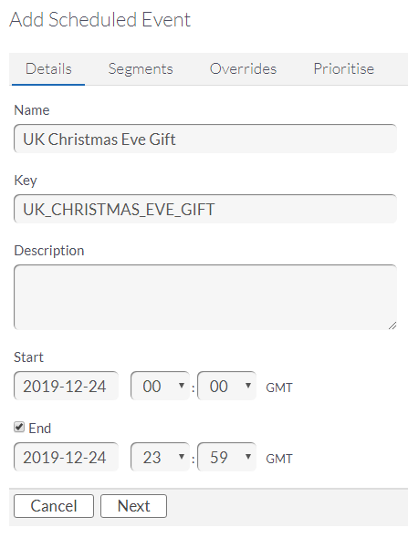 ChilliConnect Live Game Management Best Practice 4 Gifting Add Scheduled Event example