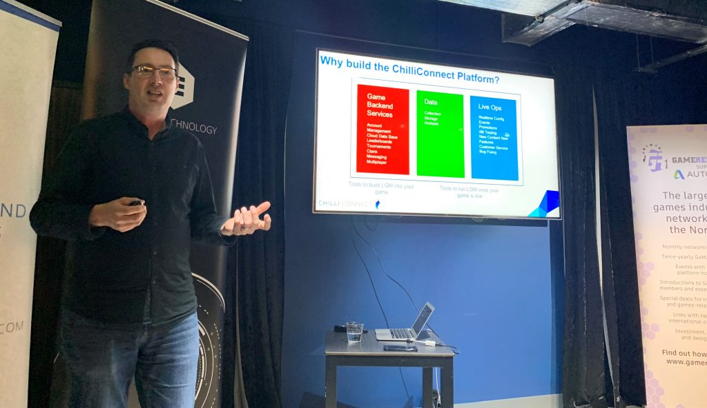 Paul Farley from ChilliConnect talking at Game Republic Leeds May 2019 benefits of Live Game Management games as a service 3