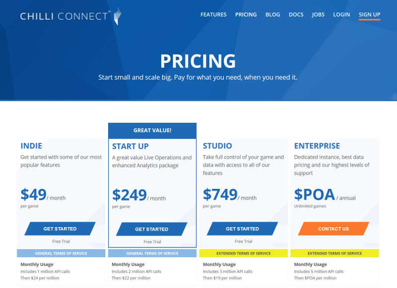 ChilliConnect pricing page